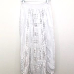 Anthropologie White Maxi Crochet Bohemian Skirt 4
